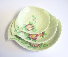3 Carlton Ware Wild Rose Leaf Dishes by TheWhistlingMan on Etsy Carlton Ware, Antique Pottery, Rose Leaves, China Cups And Saucers, Leaf Shapes, Vintage China, Buttercup, Cup And Saucer, Small Businesses
