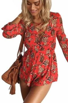 dfd7693d76 Boho Lace Up Deep V Neck Red Floral Print Playsuits. Floral PlaysuitShort OverallsLace  UpFloral LaceRompers WomenWomen s RompersElastic ...