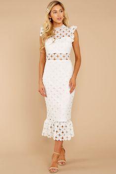 Love's High Hopes White Crochet Midi Dress Pink Floral Maxi Dress, Lace Midi Dress, Midi Dresses, Lace Dresses, Ruffle Dress, Fashion Dresses, Bridesmaid Dresses, Women's Fashion, Shop Red Dress