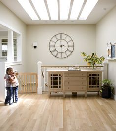 lots of narrow skylights farmhouse kitchen - traditional - staircase - san francisco - Boor Bridges Architecture Extra Large Wall Clock, Big Wall Clocks, Kitchen Wall Clocks, Staircase Wall Decor, Basement Staircase, Wrought Iron Wall Decor, Traditional Staircase, Modern Country Style, Swedish Style