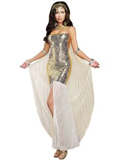 Rule the Nile with style wearing this Sexy Nefertiti Women's Costume! This elegant ensemble will make you look and feel like Ancient Egyptian royalty with a dress, collar with attached cape, and gold coin headdress.
