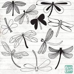 Libelle Clipart - 11 handgezeichnete Libelle Cliparts - Bugs Logo Kunst - Bugs Logo-Elemente - Libelle Illustration - 128 Get some adorable hand drawn dragonfly doodle clipart, perfect for logos, invi Doodle Drawings, Doodle Art, Easy Drawings, Tattoo Drawings, Tattoos, Dragonfly Illustration, Hand Illustration, Dragonfly Clipart, Dragonfly Logo