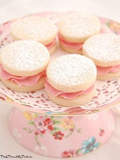 Melting Moments Sandwiches with Fresh Raspberry Buttercream - Pink Piccadilly Pastries: Melting Moments Sandwiches with Fresh Raspberry Bu… - Tea Cookies, Lemon Cookies, Biscuit Cookies, Sandwich Cookies, Biscuit Recipe, Sandwich Fillings, Fancy Cookies, Yummy Cookies, Melting Moments Cookies