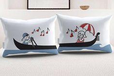 """StellaMia """"Gondola"""" Pillowcase Set for Couples - Romantic Gifts for Couples Ideas Couples Pillowcase Set"""