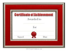 Blank award certificate templates brown frame blank award template free printable certificate of achievement templates that can be customized red border yadclub Image collections
