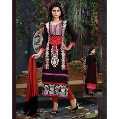 Georgette Thread Work Black & Red Semi Stitched Straight Suit - 1007 #SalwarKameez #Clothing #Fashion #Dress #StayTrendy