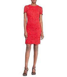 Lauren Ralph Lauren Lace Sheath Short Sleeve Dress