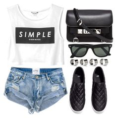 """""""Simple."""" by monmondefou ❤ liked on Polyvore featuring Monki, Proenza Schouler, Maison Margiela, H&M and Ray-Ban"""