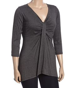 This Charcoal Ruched V-Neck Top - Plus is perfect! #zulilyfinds