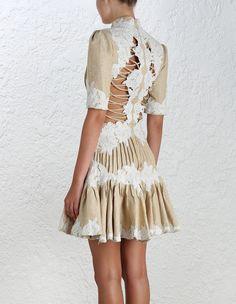 zimmermann Mischief Rosette Laced Dress & Mischief Rosette Pintuck Skirt…