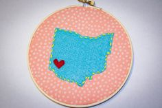 Embroidery hoop state art hand stitched ohio by CoffeeandCrafting, $15.00