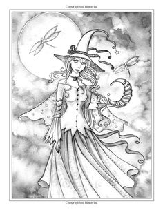 Autumn Magic Grayscale Coloring Book: Autumn Fairies, Witches, and More!: Molly…