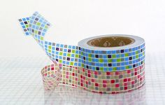 Colorful GRID Japanese Washi Tape  Blue and Red by PrettyTape, $8.00