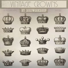 Crown Clip Art: Vintage Crown clipart contains от DigiWorkshop Crown Clip Art, Mothers Day Drawings, Royal Crowns, Crown Royal, Paar Tattoo, Crown Drawing, Crown Tattoo Design, Vintage Labels, Vintage Clip
