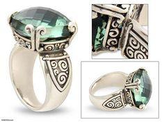 Sterling Silver and Prasiolite Cocktail Ring - Glistening Borobudur | NOVICA