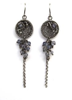 blue grey black silver earrings wire wrapped iolite. $92.00, via Etsy shop: AnnieJewelry
