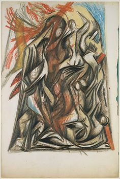 "Jackson Pollock,Untitled (Figure Composition) - 1938-41 - Colored pencils and graphite on paper - H15""XW10"" - Metropolitan Museum of Art - Copyright PKF/ARS"