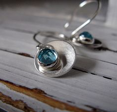 Blue Apatite Silver Disc Earrings by HotRoxCustomJewelry on Etsy, $88.00
