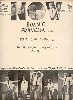 "1968 RARE Bonnie Franklin ""Your Own Thing"" Promo"