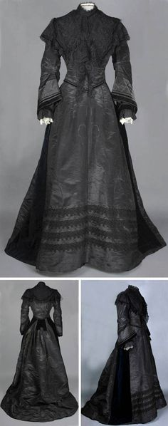 Black silk moiré dress, ca. 1870-1880, trimmed with velvet panels and four bands of decorative Russian braiding. National Trust (UK).