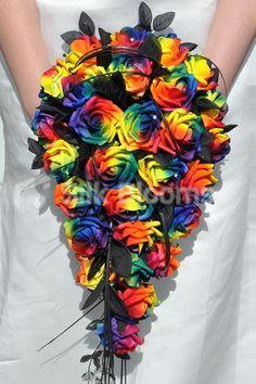 Vibrant Artificial Neon Rainbow Rose Cascade Wedding Bridal Bouquet #artificial #rainbow #wedding #flowers #cascade #roses