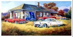 """Barnyard Gems By Ken Zylla Farm Old Car Junk Yard Print SN   28/"""" x 18/"""""""