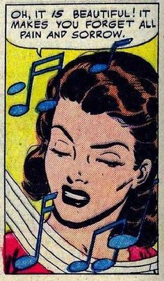 """Comic Girls say. """"Oh, it is beautiful ! it makes you forget all pain and sorrow """" Art Vintage Pop Art, Retro Art, Vintage Music, Bd Comics, Comics Girls, Comic Books Art, Comic Art, Bd Pop Art, Illustrations"""