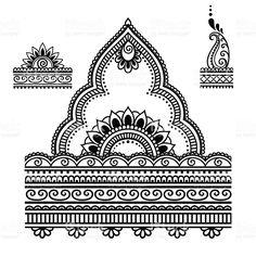 Tatuagem de Hena flor modelo. Mehndi. vetor e ilustração royalty-free royalty-free