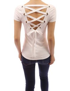 Patty Boutik Cotton Blend Scoop Neck Lace Up Back Short Sleeve Stretch Blouse Top at Amazon Women's Clothing store