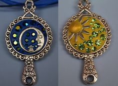 DAY and NIGHT double sided pendant necklace by SilverArti on Etsy, £15.50
