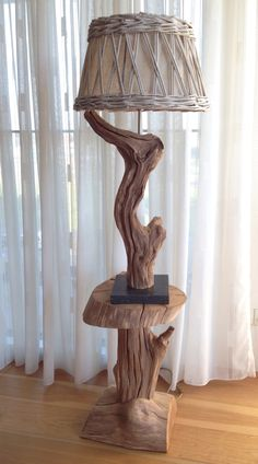 Table lamp made oa Old wheaterd Oak , by GBH NatureArt watch my webshop https://www.etsy.com/people/gbhnatureartnl