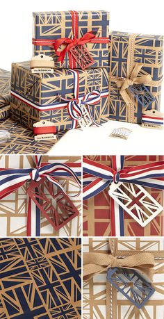 Union Jack Gift Wrap - red, white & blue printed on brown paper. Wrap boxes to stack for height? British Gifts, British Things, Union Jack Decor, Union Flags, Halloween, Party, Christmas Gifts, Stationery, Gift Wrapping