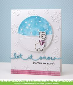 the Lawn Fawn blog: Let it Snow Border and Mini Snowflakes Alpaca My Scarf card by Yainea.