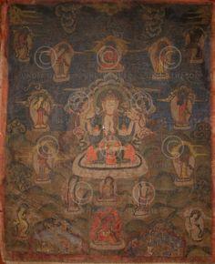 Paubha d'Avalokiteshvara.  Newar.  Vallée de Katmandu, Népal.  Début 20ème siècle.  59x74cms