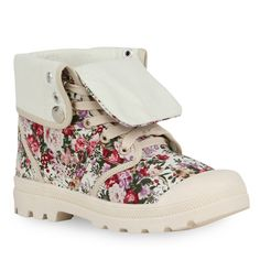 Cooler Stilbruch: Boots mit zartem Blumenmuster von stiefelparadies.de