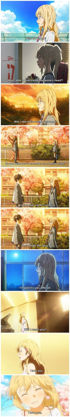Shigatsu wa kimi no uso, kaori, quotes, feels  Omigosh I just recently finished this series and I just can't