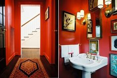 Whoa.  Wouldn't look right in my house but this is really cool.  High Gloss red walls in Ashley Putnam's Houston home.