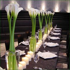 floral arrangements, table centerpieces with beautiful flowers. Nice mix of flowers and candles Wedding Reception Backdrop, Reception Decorations, Event Decor, Flower Decorations, Table Decorations, Calla Lily Centerpieces, Table Centerpieces, Wedding Centerpieces, Decoration Evenementielle