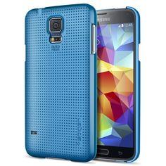 Spigen® [+Screen Shield] Samsung Galaxy S5 Case Slim **NEW Release** [Ultra Fit] [Electric Blue] Full HD *Japanese* Screen Protector + Premi...
