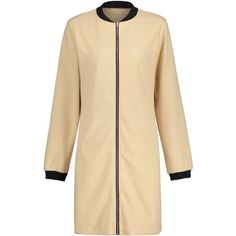 Long Zip Up Coat ❤ liked on Polyvore featuring outerwear, coats, long length coats, long coat, long beige coat and beige coat