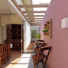 CASA CB65 | Interiores | Sala de Jantar Nesse novo projeto, tivemos a ideia de integrar o corredor lateral da casa, antes sem uso, e transformá-lo em um jardim de inverno. Para que isso acontecesse, removemos a janela e a porta da sala de jantar e substituímos por uma extensa porta de vidro Blindex. Além de melhorar a iluminação, ampliamos o ambiente e o deixamos mais alegre com a cor Surpresa de Amora da @tintas_suvinil. Para completar, sugerimos um jardim de parede vertical da… Roof Design, House Design, Porch And Terrace, Victorian Terrace House, Boundary Walls, Pergola, Backyard For Kids, Natural Home Decor, House And Home Magazine