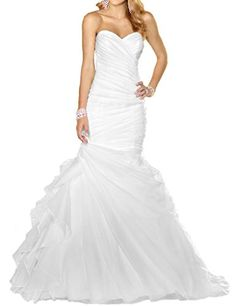 ASBridal Mermaid Organza Long Wedding Dresses for Bride 2016 with Brush Train White US 2 -- To view further for this item, visit the image link.