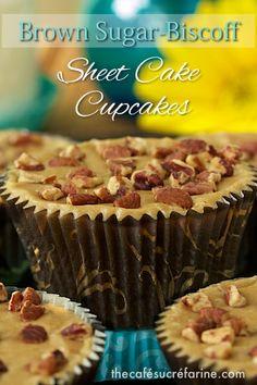 Super simple, super delicious!! Brown Sugar-Biscoff Sheet Cake Cupcakes