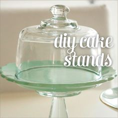 DIY cake stand!  --- Need to start looking in thrift shops for supplies.  This would be great for a Christmas gift with cupcakes, brownies or cookies!