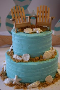 Cake by @courtney777 - Confections by Courtney http://www.allkindsofthingsblog.com/2015/05/beach-bridal-shower.html