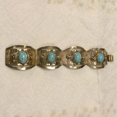 """VINTAGE STERLING SILVER HECHO MEXICO NECKLACE Vintage Sterling silver panel turquoise bracelet..marked..measures 7 1/2"""" Sterling silver Jewelry Bracelets"""