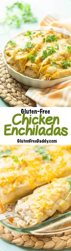 These gluten free chicken enchiladas are hearty, super flavorful, and are topped with an easy, gluten free sauce.(Chicken Quesadillas 21 Day Fix) Gluten Free Sauces, Gluten Free Recipes For Dinner, Gluten Free Cooking, Gluten Free Desserts, Dairy Free Recipes, Dinner Recipes, Cooking Recipes, Dinner Ideas, Meal Recipes