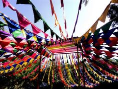 Colourful flags at the Jaipur literature Festival