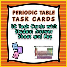 Periodic table activities teaching elements resources pinterest 32 task cards of periodic table review for general chemistry with answer key urtaz Choice Image