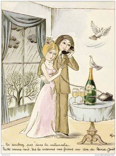 Perrier-Jouët Champagne Belle Epoque - Les Amants de Peynet ~ Pinned by Nathalie Gobbe